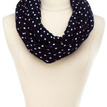 Polka Dot Infinity Scarf by Charlotte Russe - Navy