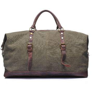 Waxed Canvas Duffle Bag, Weekend Bag, Duffel Bag Men, Weekender Bag, Leather Duffle Bag, Mens Duffel Bag, Gym Bag, Personalized Duffle Bag
