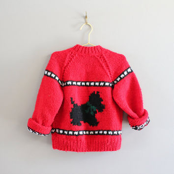 Free Shipping Hand knitted Cowichan Toddler Red Cardigan Handmade Zip-up Cardigan Doggie Pattern Pure Wool Size 3 to 4 years old