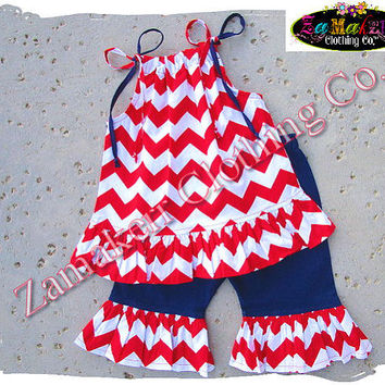 Custom Boutique Clothing Girl Red Chevron Top Pant Outfit Set Fourth 4th of July Birthday Pageant 3 6 9 12 18 24 month size 2t 3t 4t 5t 6 7