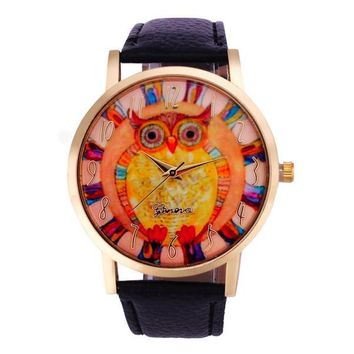 Owl Pattern Leather Band Analog Quartz Vogue Watch