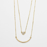 Layered Curved Gold Bar & Rhinestone Pendant Necklace