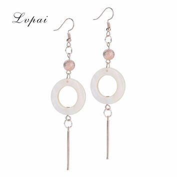 2017 Women's Elegant Shell Geometric Drop Dangle Long with White round Chain Earrings Delicate Arrival new #py30