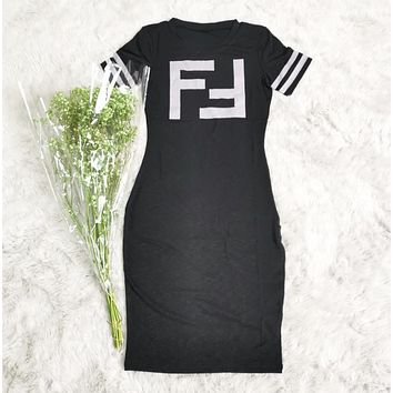 Fendi New fashion letter print short sleeve dress women Black