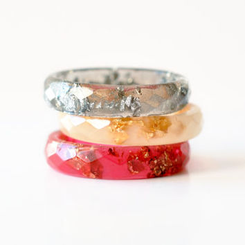 Set Of Three Colorful Resin Rings - Colorful Resin Stackable Rings - Thin Faceted Rings