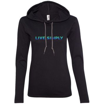 """""""Live Simply"""" Women's Long Sleeve Hoodie T-Shirts (Colorful)"""