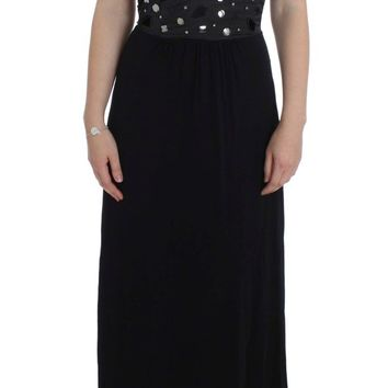 Black Viscose Long Maxi Shift Crystal Dress