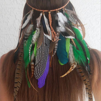 Amazon Rainforest, Feather headband, native, american, style, indian headband, tribal, bohemian headband, hippie Headband, hair band