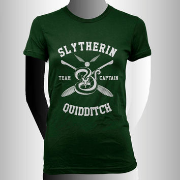 Slytherin Quidditch team Captain YELLOW print on Forest Green Women tee
