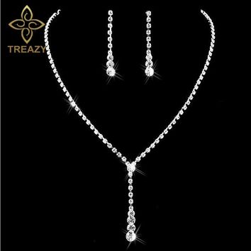 TREAZY Silver Plated Celebrity Style Drop Crystal Necklace Earrings Set  Bridal Bridesmaid Wedding Jewelry Sets 751497c75