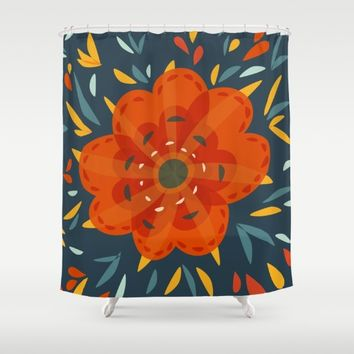 Decorative Whimsical Orange Flower Shower Curtain by Boriana Giormova | Society6