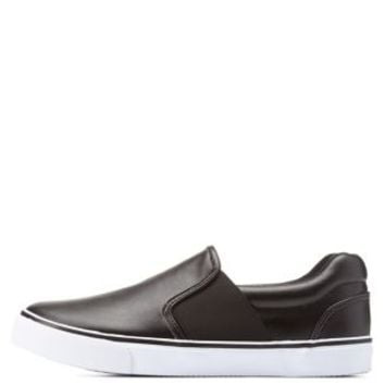Black Twin-Gored Faux Leather Slip-On Sneakers by Charlotte Russe