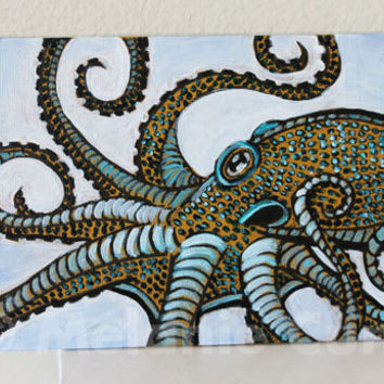 "Octopus original painting 5""x7"""