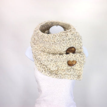 Large Chunky Cowl with Two Natural Coconut Shell Buttons /WHEAT/, Unisex Buttoned Scarf Neck Warmer, Gift Idea