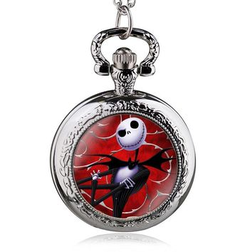 Vintage Three Colors Steampunk Red Nightmare Before Christmas Quartz Pocket Watch Necklace Best Gift DIY Jewelry