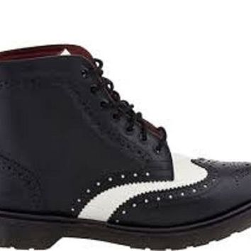 Wakeby Wolf Finesse Black/White Brogue Wingtip Lace Up Genuine Leather Boots