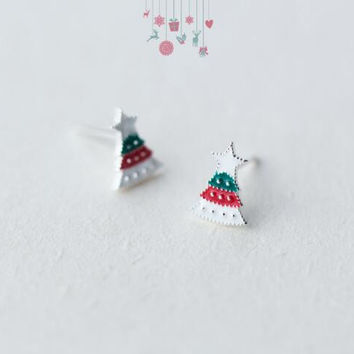 Christmas gifts-925 sterling silver color christmas tree earrings + Nice gift box ALQ