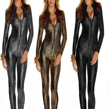 Factory Price Women Sexy Snakeskin Leather Bodysuit Long Sleeve Front Zipper Bodycon Jumpsuit Leotard Clubwear Outfit 3 Colors