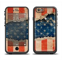 The Scratched Surface Peeled American Flag Apple iPhone 6 LifeProof Fre Case Skin Set