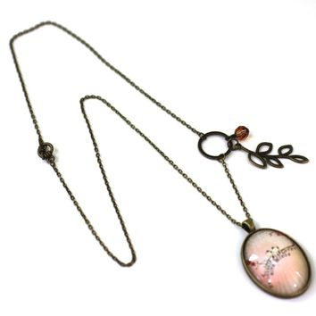 """Love Birds - Bird Pendant from Antique Bronze Chain - Simple Statement Necklace - 24"""" Long - Papersonal - Clay Space"""