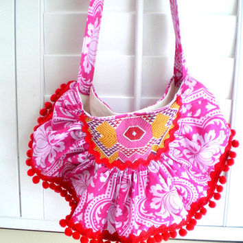 Bohemian, gypsy, hobo, tribal, ethnic, crossbody, handbag, hipbag, shoulder bag, purse, pink, red