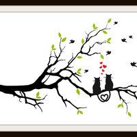 Cats In Love On A Branch Cross Stitch Pattern | Los Angeles Needlework
