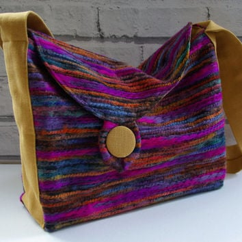 large handbag, satchel, shoulder bag, pure linen and woven wool felt with large button, UK seller