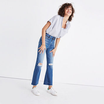 Retro Crop Bootcut Jeans: Knee-Rip Edition