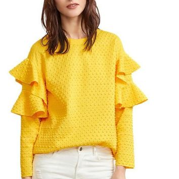 Ruffle Sleeve Blouses Women Yellow Polka Dot Embossed Cute Tops New Fashion Spring Casual Elegant Blouse