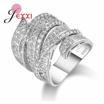JEXXI New Stylish Hollow Wide Band Ring Punk Type Original 925 Sterling-Silver-Jewelry Micro Inlay Full White Crystal for Women