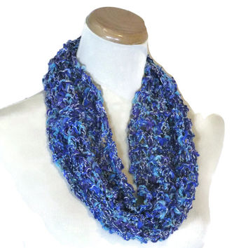 Knit Cowl, Blue Scarf, Circle Scarf, Spring Scarf, Mother's Day, Gift For Her, Loop Scarf, Hand Knit Scarf, Fashion Scarf, Fiber Art,