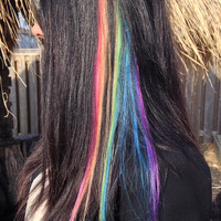 Rainbow Hair Extensions, Hair extensions clip in, Purple Hair, Yellow Hair,  Orange Hair, Blue Hair, Green Hair, Pink Hair