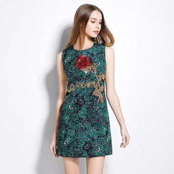 3d Red Rose Diamond Embroidery Cocktail Party Dresses Fashion Slim Embroidered Flower Sleeveless Green Summer Sequin Dress Women