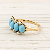 Victorian Gold Turquoise Pearl Ring | Shop | Erstwhile Jewelry Co.
