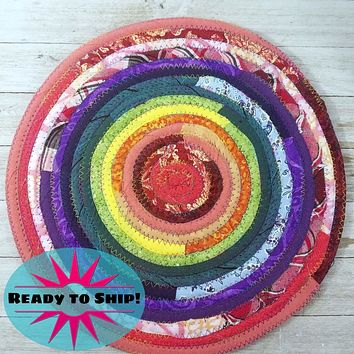 """R2S Handmade Table Mat Fabric Placemat 12"""" Diameter Rainbow Colors Ready to Ship"""