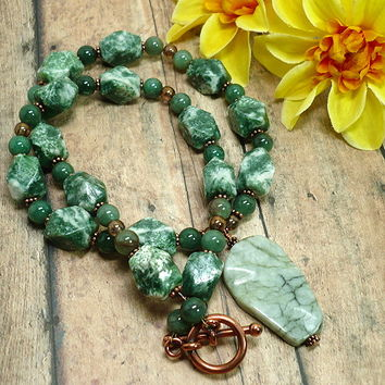 Jungle Jasper Green Aventurine Tree Agate Copper Artisan Necklace Set