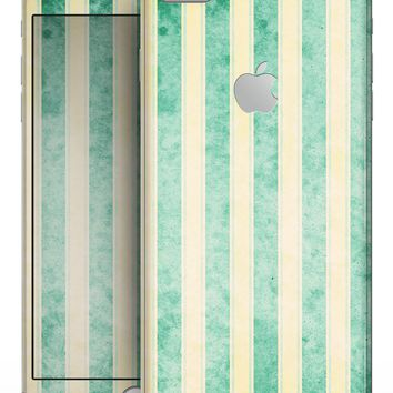 Green Grunge Vertival Stripes Over Yellow - Skin-kit for the iPhone 8 or 8 Plus