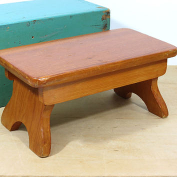 Vintage Rustic Wooden Step Stool . Child's Sturdy Bench Stool . Plant Stand . Solid Wood