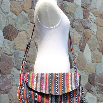 Colorful Nepali Woven Crossbody Messenger Bag    Tribal Women's Bag   Crossbody Purse   Woven Hobo bag   Hippie Bag   Vegan bag  Boho bag