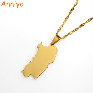 Anniyo Italy Sardinia Pendant and Necklace Gold Color Trendy Sardegna/Sardaigne Jewelry Gifts #015021