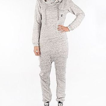 OnePiece Twisty jumpsuit grey melange 13042 (P-AW13042) zip hoods at Zoo Outlet