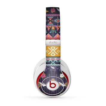 The Vector Purple and Colored Aztec pattern V4 Skin for the Beats by Dre Studio (2013+ Version) Headphones