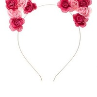 Pink Combo Two-Tone Rose Cat Ears Headband by Charlotte Russe