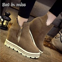 Women Winter Boots Suede Warm Platform wedge Snow Ankle Boots Women Casual Shoes Round Toe Sneakers Female Botas Mujer Z209