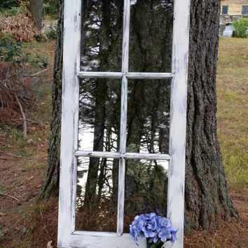 Distressed Old Wooden 6 Pane Window, Rustic Wedding Decor, Distressed Menu Board, Weathered Window Pane Table Seating Chart