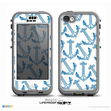 The Blue Anchor Stitched Pattern Skin for the iPhone 5c nüüd LifeProof Case