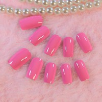 Flat Shiny False Nails Long Hot Pink Full Wrap Nail Art Tips Press on Nail Easy DIY Salon Quality Z222