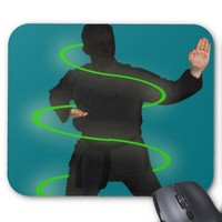 Karate man in glow circles, mousepad