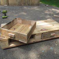Handmade Custom Salvaged Wood Under Bed Drawers - Small