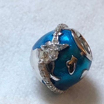 Silver Charms, Travel Charms, World Globe Charm, 925 Sterling Silver, Fits Pandora